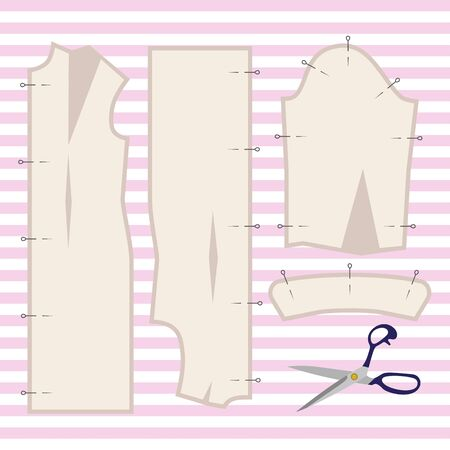 Illustration of a vector with sewing pattern and sewing tool. Stock Photo