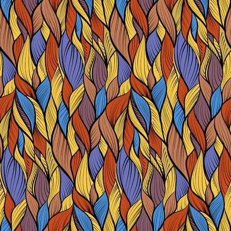 Abstract tangled leaves seamless pattern. Colorful wavy striped background. Endless backdrop. Vector illustration