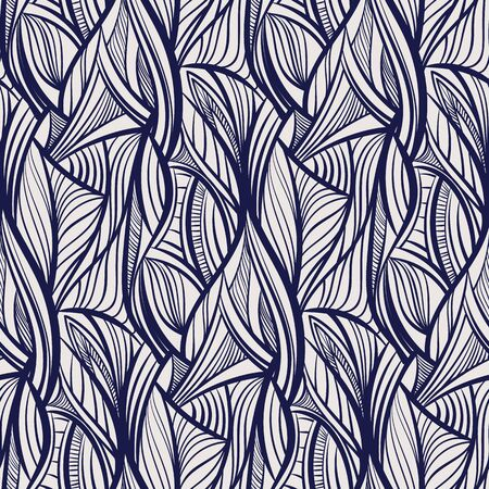 Abstract tangled leaves seamless pattern. Black and white wavy striped background. Endless backdrop. Vector illustration. Ilustrace