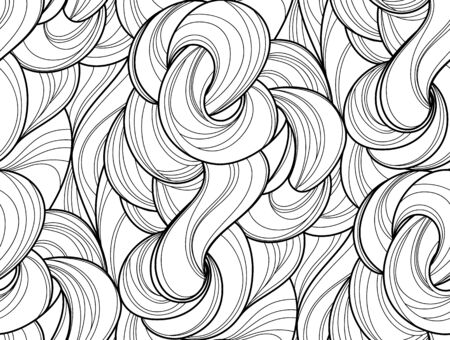 Abstract tangled waves seamless pattern. Black and white wavy striped background. Endless backdrop. Vector illustration