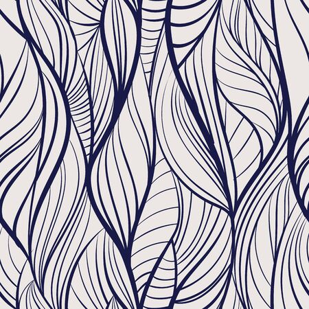 Abstract tangled leaves seamless pattern. Black and white wavy striped background. Endless backdrop. Vector illustration. Reklamní fotografie