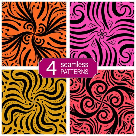 Set of seamless abstract lines vector patterns.