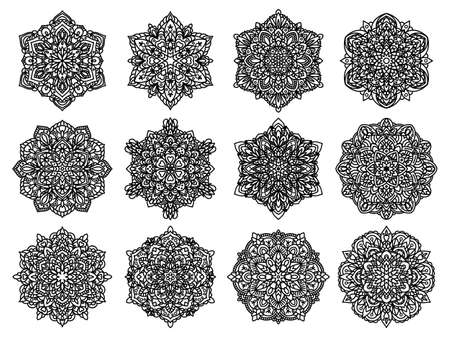 Set of vector mandalas. Ethnic oriental circle folk ornament