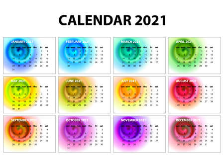 Calendar wall planner for the 2021 year. Colorful vector set. Template for your design.