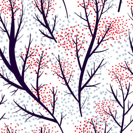 Seamless vector pattern with branches on winter background Illustration