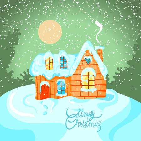 Winter landscape with house on Happy New Year celebration. Greeting card for Merry Christmas in vector