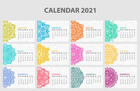 Calendar for 2021 year. Vintage decorative mandala elements. Week starts on sunday. Vintage style template for your design Illustration