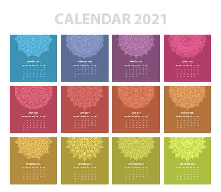 Calendar for 2021 year. Vintage decorative mandala elements. Week starts on sunday. Vintage style template for your design.