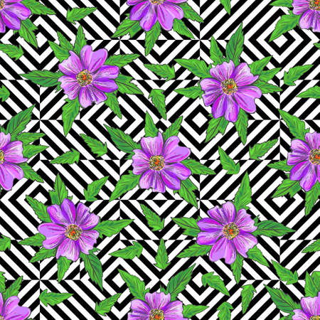 Seamless flowers on stripes background. Abstract leaves. Vector pattern.