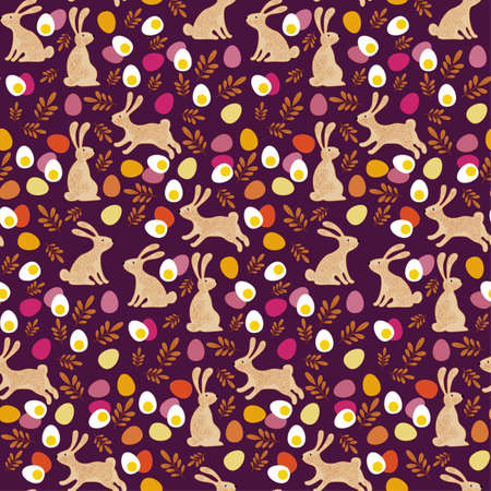 Seamless vector easter bunny pattern. Rabbit and eggs endless background.
