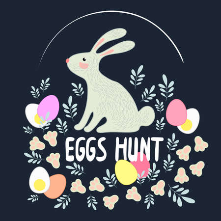 Lettering Easter egg hunt with cute bunnies, leaves and eggs. Vector greeting card.