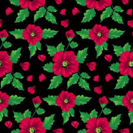 Seamless flowers Rosa canina backgorund. Hand drawing sketch. Vector pattern