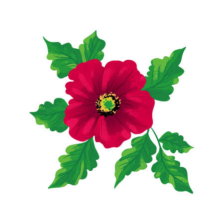 Flower Rosa canina isolated on white backgorund. Hand drawing sketch. Vector pattern EPS10
