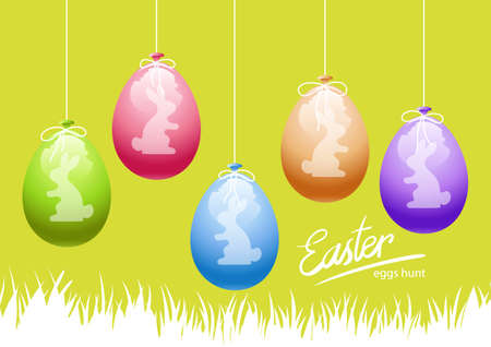 Happy Easter card with bunnies silhouette on balloons background. Vector illustration.