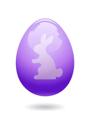 Happy Easter card with bunny silhouette on the glossy egg background. Vector illustration