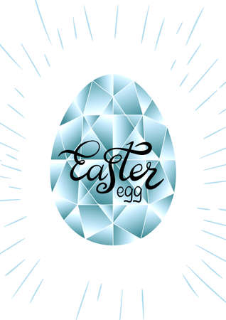 Happy Easter card with crystal egg background. Vector illustration Çizim