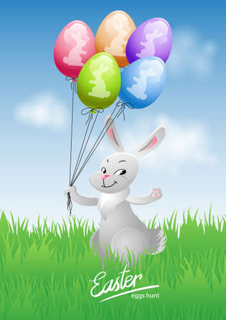 Happy Easter card with bunny and balloons on the grass.Vector illustration Çizim