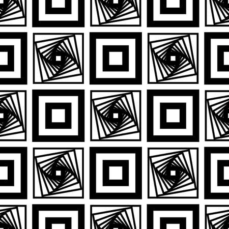 Abstract vector seamless op art pattern. Square graphic ornament