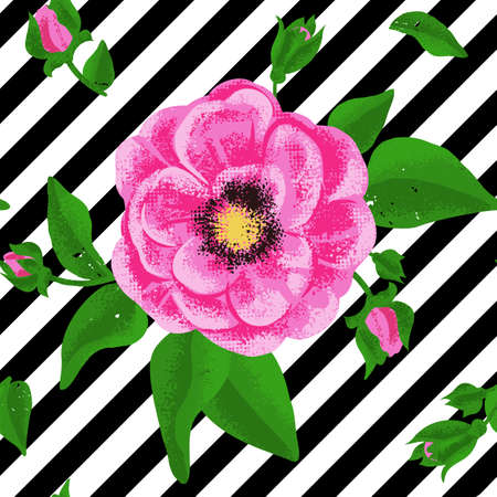 Seamless flowers Rosa canina background. Hand drawing sketch. Vector pattern EPS10.