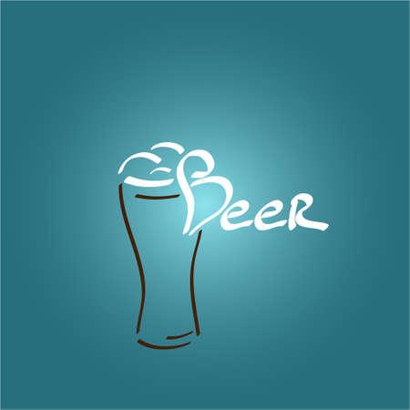beer foam: Painted beer glass icon beer foam vector illustration