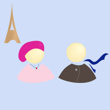 woman scarf: Girl and boy in Paris on a background of the Eiffel Tower vector illustration