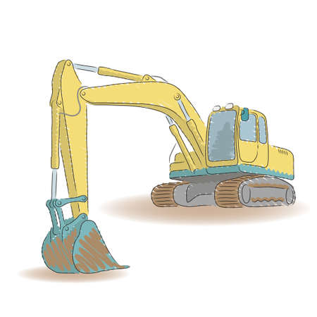 dredger: Excavator isolated on white background, vector illustration