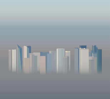 smog: High-rise office city buildings in the smog, vector illustration