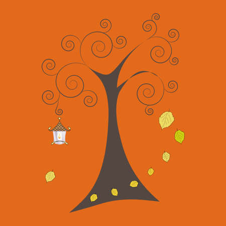old lamp: Autumn tree with falling leaves and old lamp. Art vector illustration for you design.