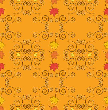 Autumn seamless pattern with falling leaves Illusztráció