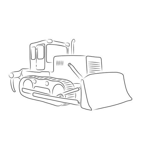 Isolated outline of bulldozer on the white background, vector illustration
