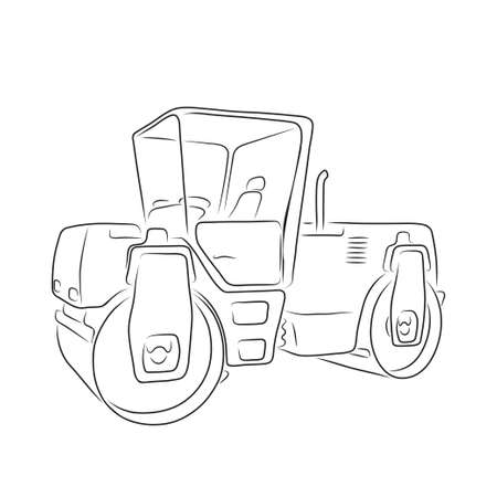 compactor: Original road roller isolated on white background. Art vector illustration for you design