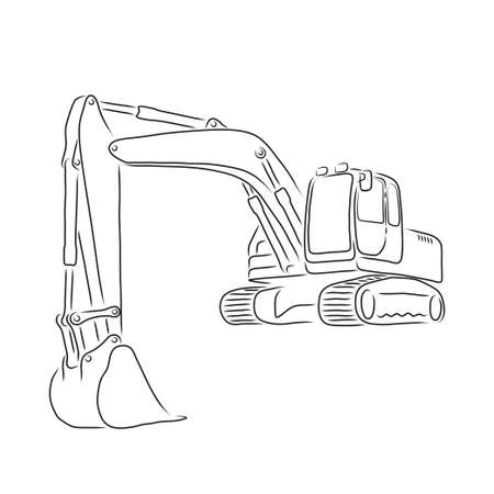 Outline of excavator isolated on white background, vector illustration