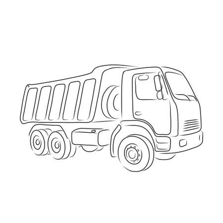haul: Isolated outline of tipper on the white background, vector illustration