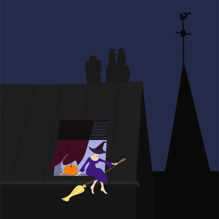 window sill: Young witch on the window sill. Art vector illustration for you halloween design Stock Photo