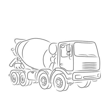 truck concrete mixer: Hand-drawn outline of concrete mixer truck isolated on white background. Art vector illustration for you design