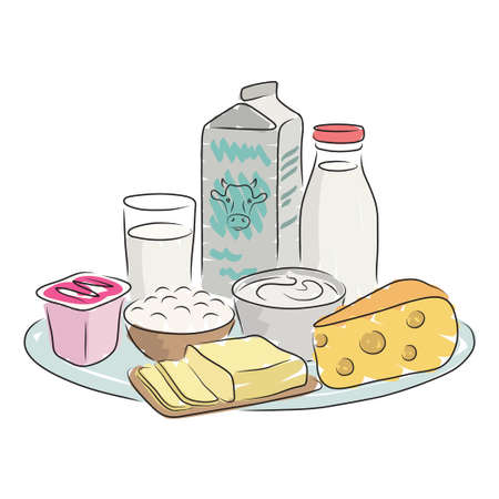 milk products: Milk products on plate isolated on a white background. Hand-drawn vector illustration for design of shop window Illustration