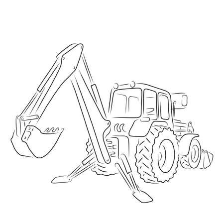 Hand-drawn outline of backhoe loader isolated on white background. Art vector illustration for your design  イラスト・ベクター素材