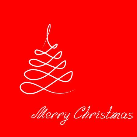 Hand-drawing illustration Christmas tree and lettering 'Merry Christmas'. Art vector illustration for your Christmas design.