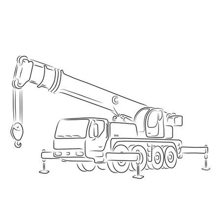 Hand-drawn outline of truck-mounted crane isolated on white background. Art vector illustration for your design