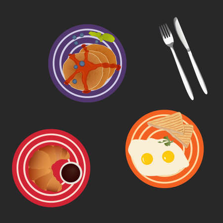 baby cutlery: Plates with scrambled eggs, pancakes and croissant isolated on dark background. Art vector illustration for your design Illustration