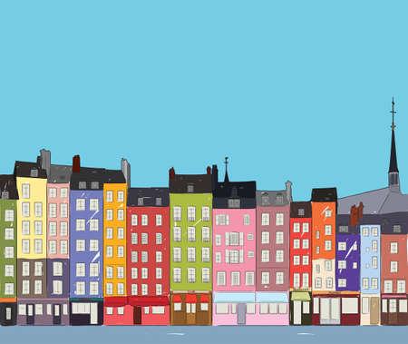Bright colorful city houses of Honfleur near the river.  sketch. Flat design. Illusztráció