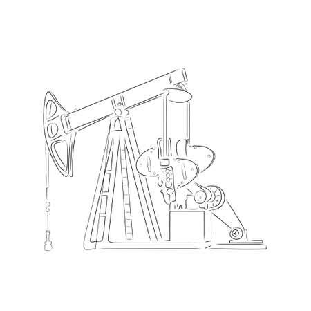outline of oil derrick isolated on white background. Art illustration for your design.