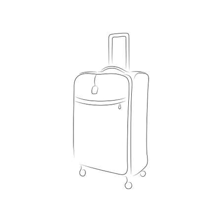 trolley case: outline of suitcase isolated on white background. Art illustration for your design.