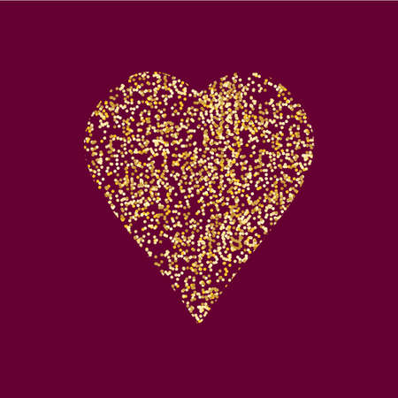 tinsel: Heart icon with gold tinsel. Art illustration for your design. Illustration