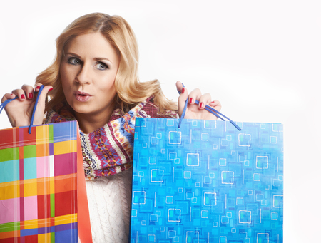 Winter and christmas shopping  Woman holding shopping bags Stock Photo - 23845441