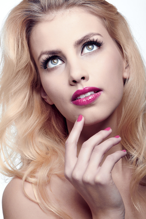 natural health and beauty: Beautiful blond woman. Natural health beauty of a woman face