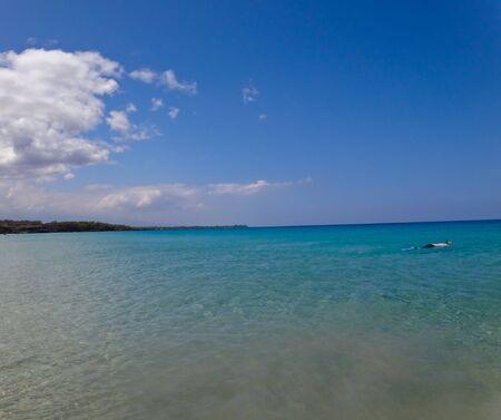 Lone Snorkeler in Blue Ocean