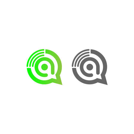 Letter A Wireless Internet in the chat bubble logo illustration