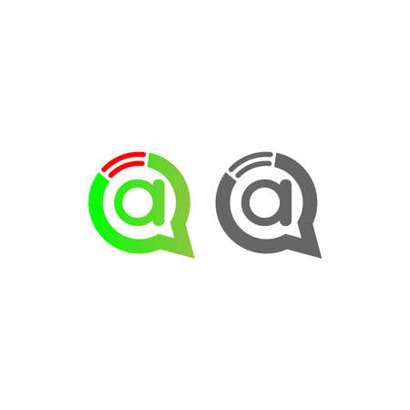 Letter A Wireless Internet in the chat bubble logo illustration Ilustracja
