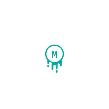 Letter M logotype in green color design concept illustration